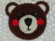1 Large Crocheted Bear Head Applique Embellishment - DARK BROWN