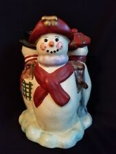 Vintage Snowmen & Woman Candle Holder Centerpiece Vgc