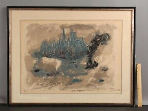Large Signed 1962 Abstract Mid-Century Modern Lithograph New York City Skyline