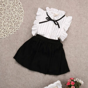Toddler Kids Baby Girls Clothes T-shirt Tops +Skirts Outfits Shorts Set Dress~