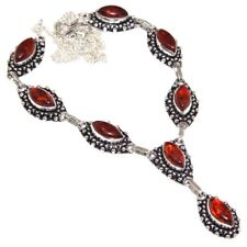 """Handmade Baltic Faux Amber Gemstone 925 Sterling Silver Necklace 20"""" #N01591"""