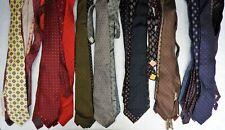 Lot of 50 Vintage Foulard Skinny Slim Mens Silk Ties blue red black purple brown