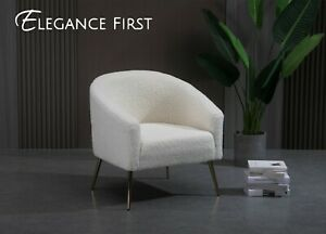 Imitation Lambskin Upholstered White Armchair Lounge Chair Armchair Single Sofa