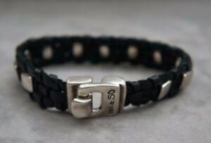 "New UNISEX Uno de 50 Black Weaved Leather Silver Studded Cuff Bracelet 7.5"""
