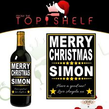 Personalised Merry Christmas Xmas wine bottle label any name any greetings