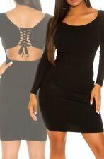 Sexy Miss Damen Long Pullover Strick Kleid Rücken Schnürung 34/36/38 schwarz Neu