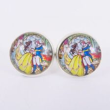 BEAUTY AND THE BEAST STUD EARRINGS Stained Glass Window Disney Belle Wedding UK