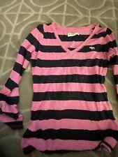 Abercrombie Girls Size XL pink Striped Long Sleeve Shirt Never Worn