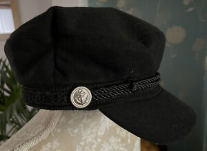 Black Baker Boy Hat With Anchor Buttons And Rope Approx 57cm Inside Measure