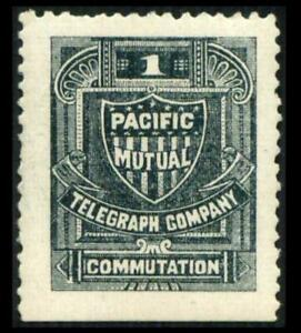 13T2 TELEGRAPH 1c Slate PACIFIC MUTUAL COMPANY Mint HR SEE PHOTOS Lot K-555