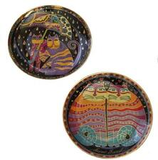 2 Laurel Burch Franklin 1995 FRIENDLY & FAIR WEATHER FELINES Gold Decor Plates