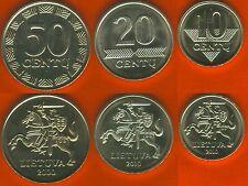 Lithuania set of 3 coins: 10-20-50 cents 2000-10 UNC