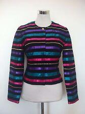 Retro Vintage Maggy London Colour Ribbon Striped Evening Blazer Jacket / Size 10