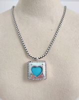 Brighton Open Hearted Silver Swarovski Crystal Turquoise Necklace