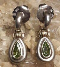 "Designer Hong Kong Sterling Silver 18 K All Gemstone 1""  Drop Earrings Signed"