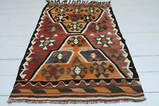 "Vintage Turkish Small Kilim Doormat Bathmat Decor Wool Rugs Carpet Tapis 31""X46"""