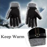 Winter Men's Warm Gloves Real Leather Thicken Waterproof Ski Thermal Gloves
