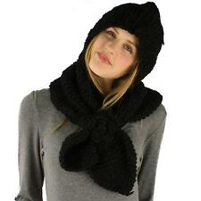 Winter Crochet Floral Hand Knit Hooded Scarf Pullover Headscarf Hoodie Hat Black