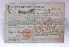 Resident HUNTING LICENSE 1931  BIRDS ILLINOIS LAWRENCE COUNTY - Bill Griffin