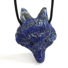Fox Head Pendant Natural Gemstone Lapis Lazuli Healing Crystal Carved Necklace
