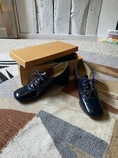 Vintage 70s Navy Blue Lace Up Chunky Heel Brogue Shoes by Town Dales Kinney 7.5