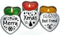 Set of 3 Scented Heart Candles Merry Christmas Xmas Silver Heart Tin Gift