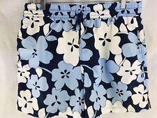 """Kiwi Swim Trucks Mens 34 Sunwear St Tropez Swimwear Blue Hawaiian Flowers 17"""""""