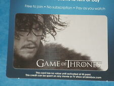 Game Of Thrones:  JON SNOW 'Stark' Collectible Plastic Top-Up Card UK Exclusive