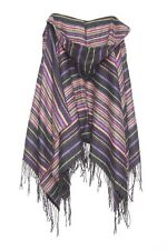 Multicolour Stripe Blue Pink Yellow Hooded Everyday Shawl W Fringe Details (s52)