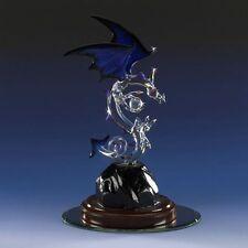 Mythical Dragon Figurine Midnight Blue Glass Swarovski Crystal Ball Handmade New