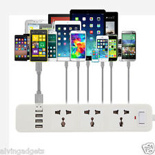 EU/US/UK 3-Outlet 4 USB Port High Speed Power Adapter Charger W/ Surge Protector