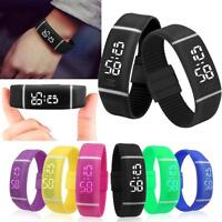 New Rubber LED Digital Watches Date Sports Slim Bracelet Mens Womens Wrist Watch
