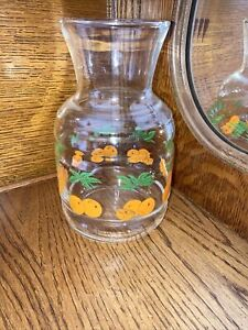 vintage orange juice pitcher with oranges & leaves glass breakfast container