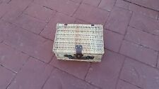 cane wicker basket picnic set suitcase Nos Vintage new old stock unused