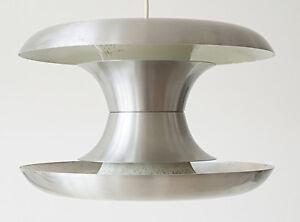 LUSTRE SUSPENSION LAMPE SCANDINAVE 1960 ACIER BROSSE 60S VINTAGE ANNEES 60'S