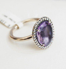 Genuine Pandora Silver Cocktail Ring with Amethyst and CZ - 190893AM Size 54