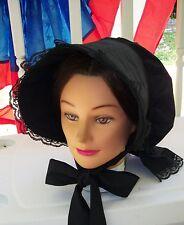 Civil War Dress Victorian Ladys Black 100% Cotton Black Slat Bonnet-Wood Inserts