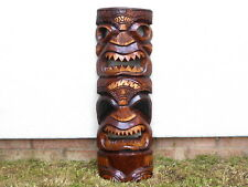 Tiki Rustic Distressed Mask Plaque Wooden Hand Carved.....