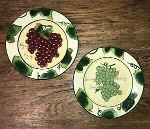 STYLE-EYES BY BAUM BROTHERS PAIR OF WINE GRAPE PLATES CHARDONAY & BURGUNDY USED
