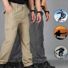 Mens Waterproof Outdoor Cargo Combat Work Long Pants Tactical Hiking Trousers UK