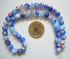 Hilo perlas cristal milflores 6 mm X 50 UNIDADES gama azul abalorios