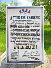 Plaque émaillée A tous les Français ! Appel 18 juin du Général De Gaulle 30x20cm