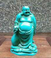 Collectible china Old Decorated Turquoise Carve Maitreya happy Buddha Statue