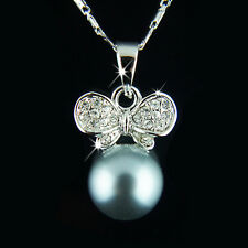 18k white Gold plated black pearl pendant necklace with Swarovski crystals