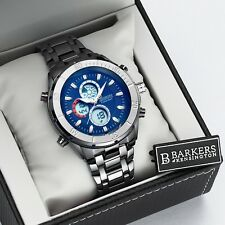 Mens Part Stainless Steel Blue Chronograph Alarm Sports Watch Discount SRP £455
