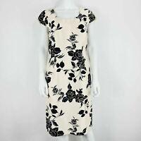 Jacques Vert Dress Cream & Black Floral Pattern UK 12