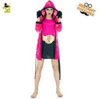 Knock Out Girl Female Boxer Boxing Fancy Dress Up Halloween Adult Costume