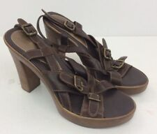 NEXT Faux Wood Block Heel Platform Womens Sandals Shoes Leather Strap Size 5 UK