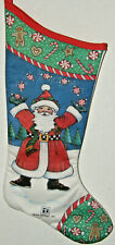 "1987 Mary Engelbreit Christmas Stocking Ho Ho Ho Santa Candy Candy Canes 16"" Exc"