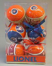 LIONEL TRAINS LOGO CHRISTMAS ORNAMENTS (6) tree bulb decoration 9-21014 NEW